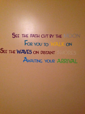 ... new baby's nursery. The quote is lyrics from a Pearl Jam song