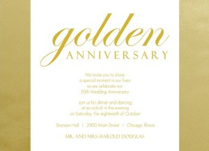 Shimmering Golden 50th Anniversary Party Idea Invitation