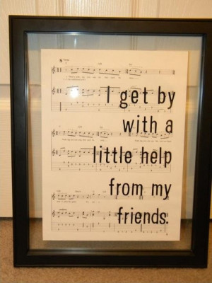 Quote w music background. Very nifty in glass frame.
