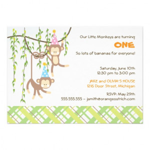 Twin Boy and Girl First Birthday Invitation from Zazzle.com