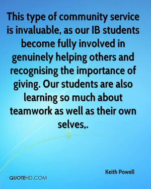 This type of community service is invaluable, as our IB students ...