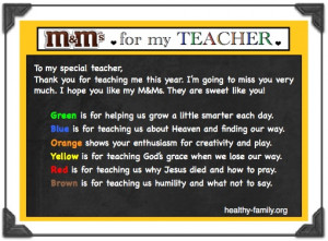 Download free M&Ms teacher poem for a Christian school teacher.