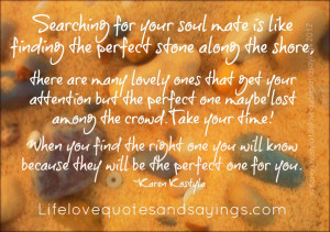 Searching for your soul mate is like finding the perfect stone along ...