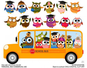 Back to school owl clip art for Personal and by Giftseasonstore, $2.00 ...