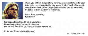 Great Suicide Note - Kurt Cobain's Last Words - Famous Suicide Quote