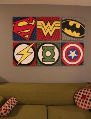 Tableaux logos super héros.
