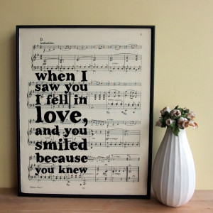 Love Quote Typographic Framed Art Print on Vintage Sheet Music Wedding ...