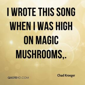 Chad Kroeger - I wrote this song when I was high on magic mushrooms.