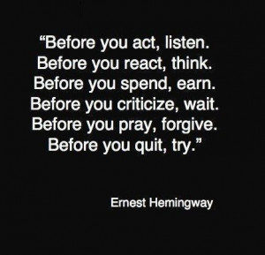 Ernest Hemingway's toughts