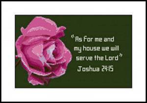 cross stitch pattern Rose with Joshua 24:15
