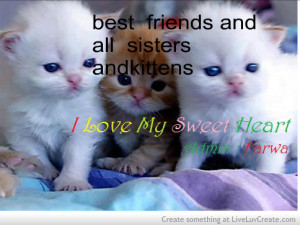 Kittens And Bestt Friends I Love My Sweet Heart Quote