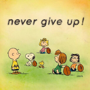 , Charlie Brown and friends, Snoopie, game, playing, never give up ...