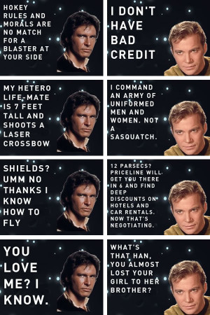 Han vs. Kirk site, the ladies' men of the Star Wars and Star Trek ...