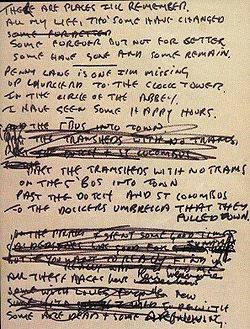 ... for 'In My Life', from his personal Beatles-lyrics notebook