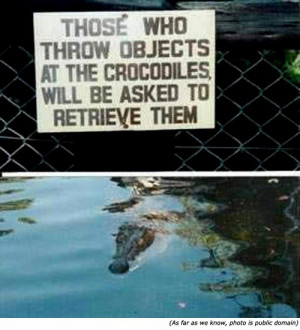 Silly signs: Funny warning sign and funny zoo signs: Those who throw ...