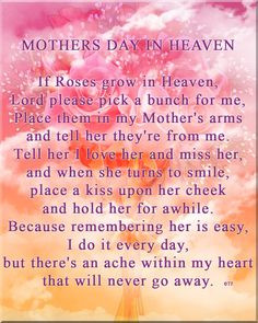 Happy Mother's Day mom (Judy) ️. I miss you and think about you ...