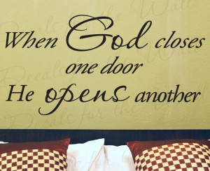 God Opens Doors Religious Wall Decal Quote