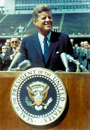 President John F. Kennedy delivers his famous