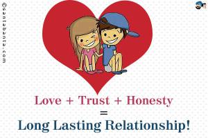 Love + Trust + Honesty = Long Lasting Relationship!