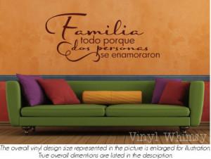 Spanish Quote - Familia Todo Porque Dos Personas Enamoraron/ Family ...