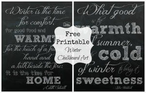 Free Printable Winter Chalkboard Art by The Happy Housie collage