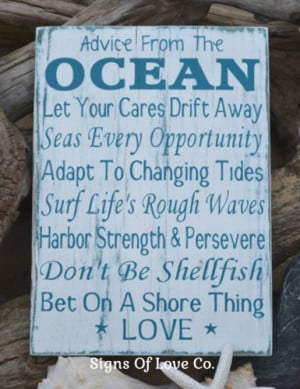 Beach Sign Advice From Ocean Love Wedding Poem Decor Wood Nautical Art