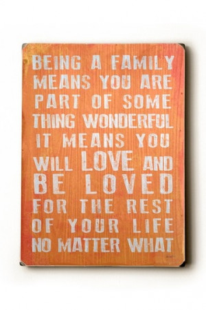 Being A Family' – Wall Art Coral Wood Wall Plaque.