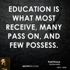 Karl Kraus Education Quotes