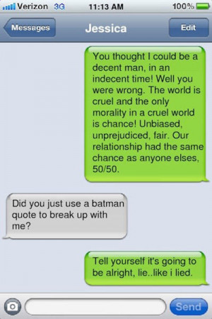 break up texts batman