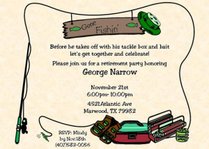 Sunset Fishing Retirement Party Invitations Front And Back Large