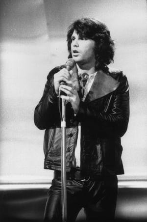 Jim Morrison in a TV appearance in Britain, circa 1970. Andrew Maclear ...