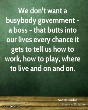 Sonny Perdue - We don't want a busybody government - a boss - that ...