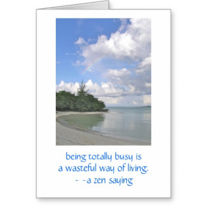 Beautiful Peaceful Deserted Beach & Zen Quote Stationery Note Card