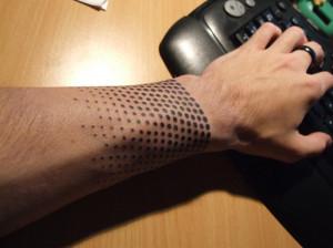Cool Half-Tone Wrist Tattoo