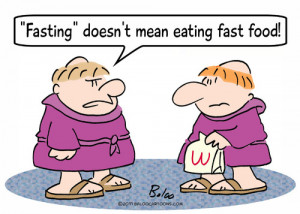 Cartoon: fasting eating fast food monks (medium) by rmay tagged ...