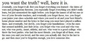 ... forget, forgetting, high school, love, magic, moving on, quote, quotes
