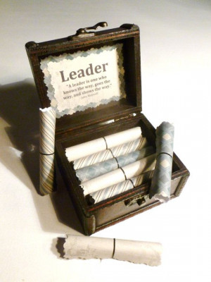 Boss Scrolls! 20 inspirational quotes about leadership in a wooden ...