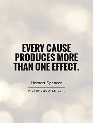 Every cause produces more than one effect. Picture Quote #1