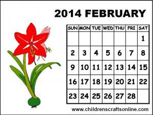 February Calendar Coloring