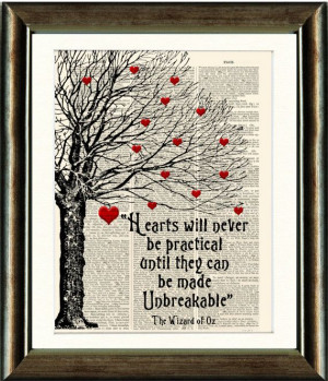 Wizard of Oz Heart Quote - vintage book page print image on a page ...