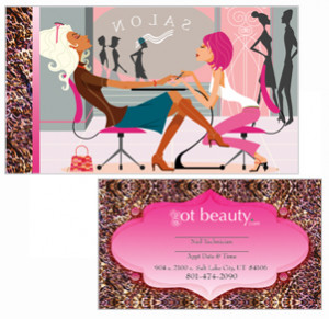Customizable nail technician business cards from Zazzle.com .