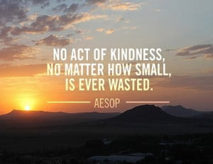 No act of kindness, no matter how small, is ever wasted.' - Aesop
