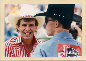 Rodeo bullrider, Lane Frost, with his good friend, Tuff Hedeman.