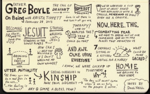 Sketchnotes on The Calling of Delight with Fr. Greg Boyle | On Being