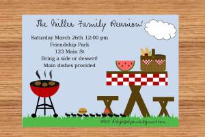 Family reunion picnic bbq invitationDIY you print custom photo card