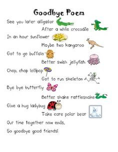 Goodbye Rhyming Poem - Free Printable More