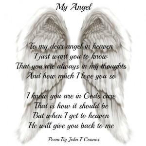 To my dear angel in heaven,