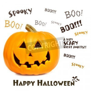 Stock photo of Pumpkin with halloween phrases on white