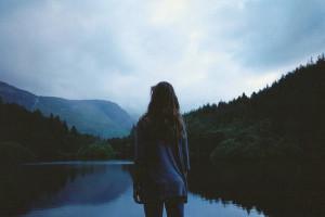 faceless, fog, girl, lagoon, mountain, photography
