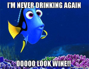 ... from nemo 5 second memory i m never drinking again ooooo look wine